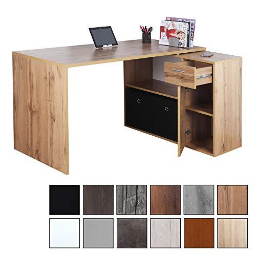 RICOO WM083-EW, Schreibtisch, Holz Eiche Braun, Winkelkombination, Arbeitstisch, Bürotisch, Computertisch, Eckschreibtisch, Akten Schrank Lowboard