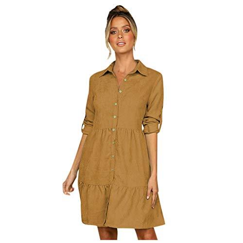 TEELONG Kleider Damen großes einreihiges Hemd mit Swing-Revers und Ärmeln, einfarbiges Hemd Ballkleid Partykleid Cocktailkleid(M, Gelb)