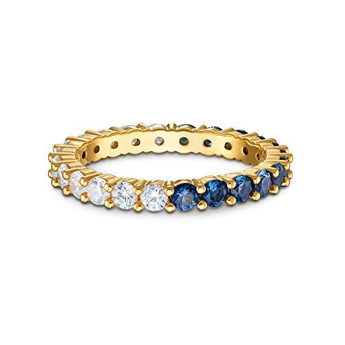 Swarovski Anello Vittore Half XL, azzurro, placcato color oro