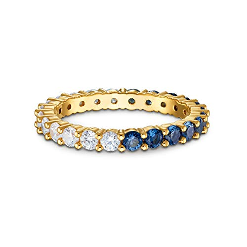 Swarovski Vittore Half XL Ring, Size 50, with Brilliant White and Blue Crystals on a Gold-Tone Plated Band, Part of the Vittore Collection