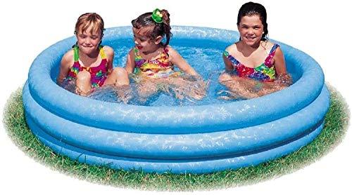 Aufblabarer Babypool Planschbecken Pool Schwimmbad Schwimmbecken Kinderpool Becken Blau 3 Ring Rund Groß für Baby Kleinkinder Kinder Balkon Garten Terrasse mit Wasserspielzeug Fun Wasser Ball