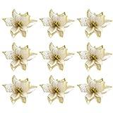 TOYANDONA 36 Pezzi di Fiori di Albero di Natale Glitter Artificiali Stella di Natale Ornamenti per Alberi di Natale (Dorati)