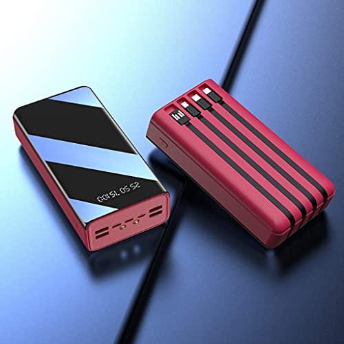 Tcbz Nuovo Mini Power Bank di Ricarica Wireless 10000mAh/display Digitale di Alimentazione Mobile Full Mirror/Tre ingressi/Tre uscite,Rosso,10000 mAh