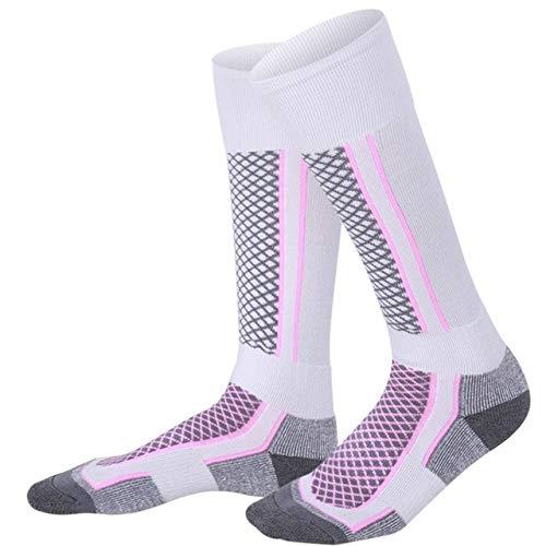 QYY Comfortableto slijtage winterman-vrouwen thermaal ski sokken verdikte katoen warme sportsokken snowboarding fietsen volwassenen skiën wandelen sokken beenwarmer (grijs zwart voor mann)