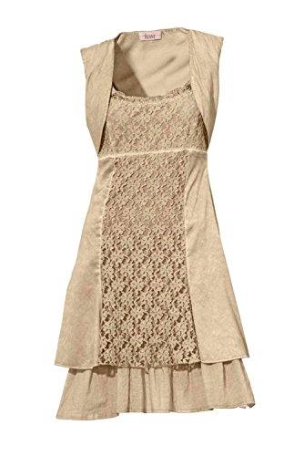 Linea Tesini Designer-Spitzenkleid sand Größe 42