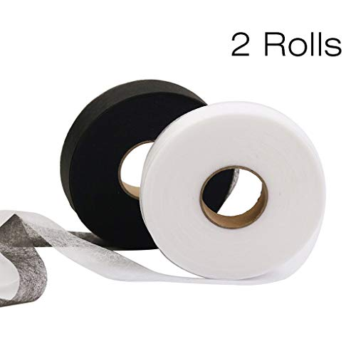 Rolin Roly 70 Yards Saumband Bügelband zum Aufbügeln Nähen 5 Rollen Bügeleisen Klebeband Beidseitiges Weißes Fixierband Nahtband Kleidung Gardinen (White Black)