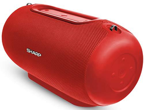 Sharp GX-BT480 (RD) Stereo-Bluetooth-Lautsprecher (100 dB + SPL-Ausgang, 20 Stunden Spielzeit, 3 EQ, Micro-SD, Staub-Spritzwasser geschützt, Mikrofon für Telefon, Google & Siri) rot