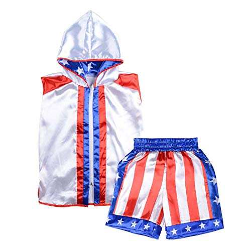 Short Tracksuit with Hood Sleeveless Boxing Ring Jacket Trunks Outfit Fight Wear Sport Suit (Hoodie + Shorts, Adult-M)