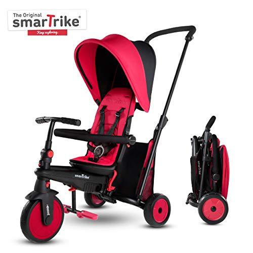 smarTrike STR3 Klappbares Kleinkinder-Dreirad mit Kinderwagen-Zertifizierung für 1,2,3 Jahre - 6 in 1 Mehrstufiges Dreirad , Rot
