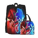lilihome Mochila escolar So_Nic Th-e Hed_Gehog Print de 2 piezas, mochila escolar + bolsa para el almuerzo, combinación de impresión 3D, lona, viaje, camping, juvenil