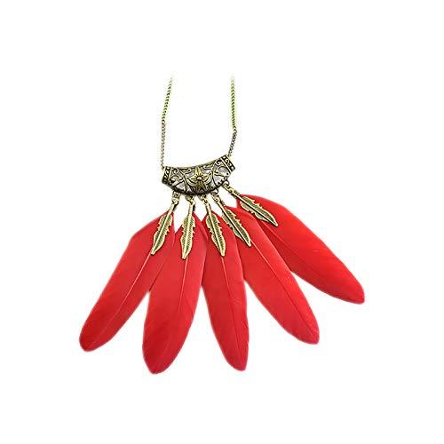 WFZ17 Collar de cadena con patrón de plumas de hojas bohemias vintage para mujeres y niñas, color rojo