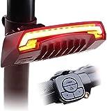 MZXI X5 LED Fahrrad Rücklicht mit Blinkern und Automatischem Bremslicht, Drahtlose Fernbedienung Fahrrad Rückleuchte, IPX4 Wasserdicht und USB Wiederaufladbar Fahrradlicht für Jedes Straßenfahrrad