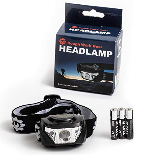 Led Headlamp - Adjustable Headband for Adults - 350 Lumen Cree XP-G Led - Weatherproof - Red and White Light - 3 Brightness Levels - Rough Work Gear