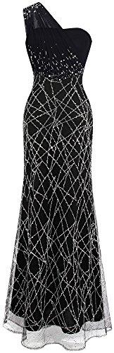 Angel-fashions Damen Gerafft Eine Schulter Perlen Lange Schwarz Abendkleid XLarge