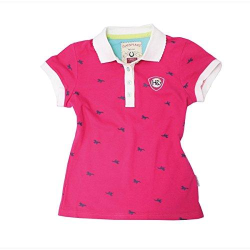 Horseware Ashlinn Damen Print Polo Shirt–Powder Pink, Pink