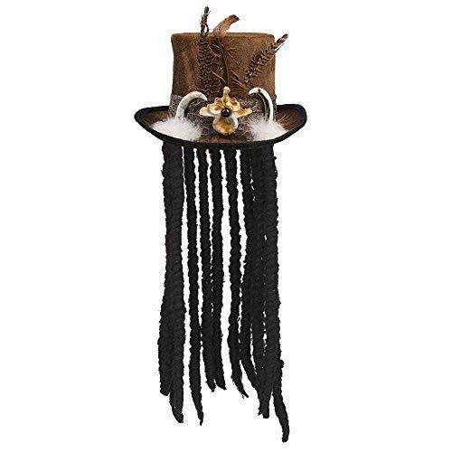 Boland 72183 - Hut Voodoo Buluku mit Haaren, unisex-adult, One Size, Zylinder, mit Rastalocken, mit Band, Zahnapplikation, Federapplikation