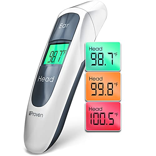 iProven Digital Thermometer for Fever - Temporal Thermometer for Adults and Seniors - Easy to Use Forehead and Ear Mode - LED Display with Big Buttons - Unique Design - iProven DMT-316