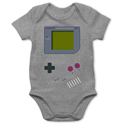 Strampler Motive - Gameboy - 6/12 Monate - Grau meliert - Anime t-Shirt - BZ10 - Baby Body Kurzarm für Jungen und Mädchen