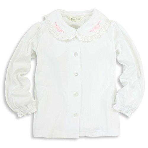 ASHBERRY (アッシュベリー) ニットブラウス(白ブラウス)長袖[リボン&刺繍]綿100%/フォーマル/女の子/ 90cm(723003)