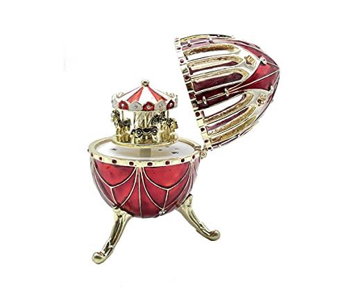 Keren Kopal Huevo de Faberge rojo con carrusel de caballo sorpresa dentro tocando música Watz de las flores por Tchaikovsky Wind Up caja de música …