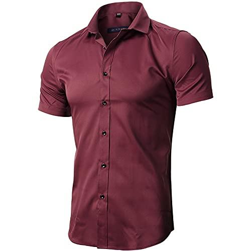 INFLATION Herren Hemd aus Bambusfaser umweltfreudlich Elastisch Slim Fit für Freizeit Business Hochzeit Reine Farbe Hemd Kurzarm Herren-Hemd Weinrot DE L (Etikette 42)