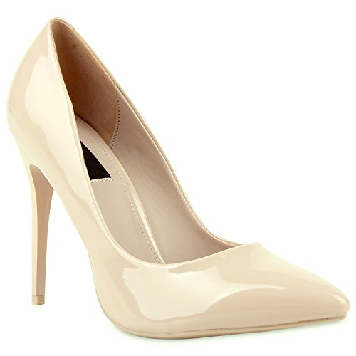 Spitze Damen Pumps Lack Stiletto High Heels Metallic Party Glitzer Abiball Hochzeit Schuhe 104679 Nude 37 Flandell