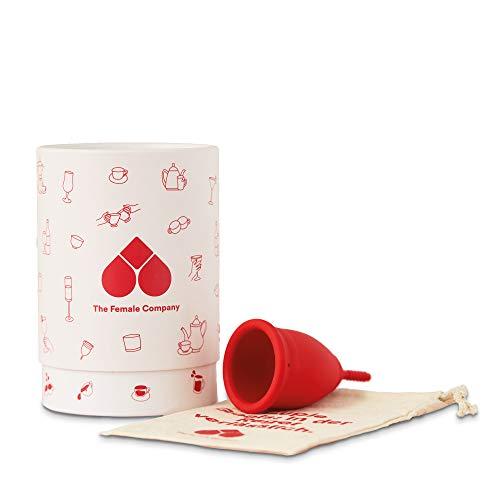 The Female Company© Menstruationstasse in Rot – weich - A-Cup (Ø 38 mm), inkl. Aufbewahrungsbox I Menstruationscup aus weichem, 100{33cc34a4f1a4924b1432b48803d570cb863bb509d5a4360b2787d0b9352b9445} medizinischem Silikon I Made in Germany