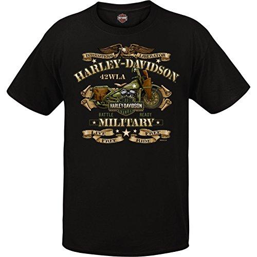 Harley-Davidson Military – Herren Graphic Kurzarm Rundhals T-Shirt – Overseas Tour | War Bike - Schwarz - X-Groß