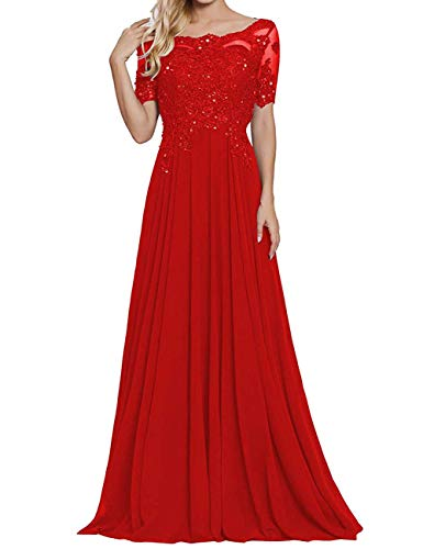 Damen Spitzen Abendkleider Chiffon Brautmutterkleider Lang Kurzarm Brautjungfernkleider Ballkleider A-Linie Rot 52