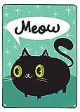 Placa de metal para pared con diseño de gato negro y metal para colgar en la pared, diseño retro y retro, ideal como regalo de 8 x 12 pulgadas