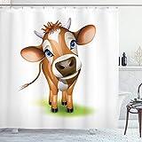 ABAKUHAUS Baby Duschvorhang, Kuh mit blauen Augen Gras, mit 12 Ringe Set Wasserdicht Stielvoll Modern Farbfest & Schimmel Resistent, 175x180 cm, Königsblau Zimt Grün