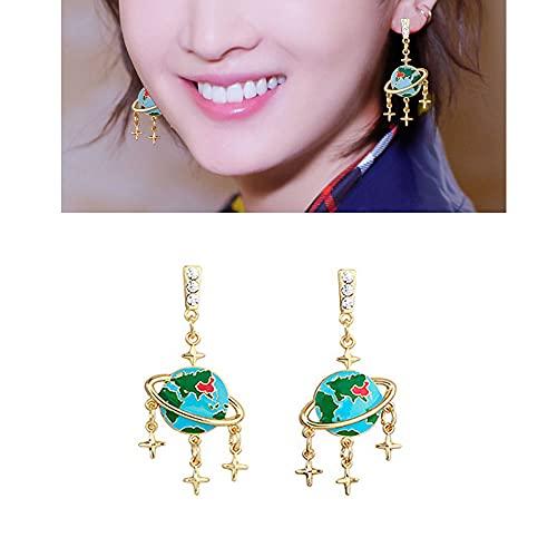 FZSECRIU Earrings Starry Sky Earth Star Earrings,Women's Creativity Collection Earrings,Vintage 3D Ladies Earrings, Fashion Earrings,Personality Temperament Earrings,Creative Women Pendant Jewel Gold