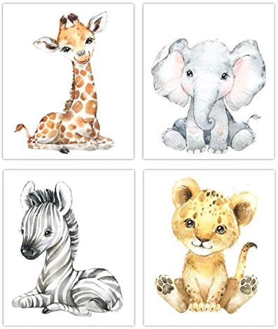 Designs by Maria Inc Safari Babies Watercolor Animals Prints Set of 4 Unframed Nursery Decor product image