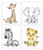 Designs by Maria Inc. Safari Babies Watercolor Animals Prints Set of 4 (Unframed) Nursery Decor Art (8x10) (OPTION 2)