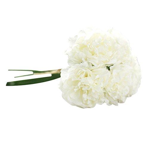 YWLINK Vintage KüNstliche Pfingstrosen-Seidenblumen Blumenstrauß Zur Dekoration Hochzeit Blumenstrauß Hydrangea Warm Speichern Cafe Dekoration KüNstliche Pflanze Party-Wohnkultur 5 Blütenkopf