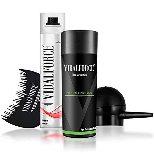 VidalForce ⏤ Starter Pack (Bomba + Optimizador + Micro fibra capilar 30 gr + Fijador fibras capilares) ⏤ Pack para ocultar la alopecia capilar. Fibras capilares Castaño Oscuro (30 gr)