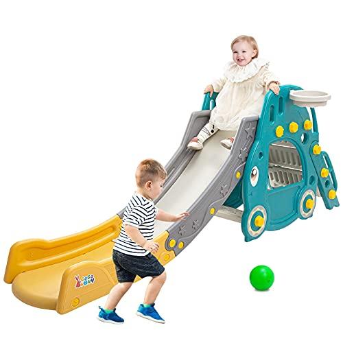 MYRCLMY 4 En 1 Slide Slide Folding Play Playground para Niños Diapositiva con Baloncesto Y Lanzamiento De Anillo Interior Al Aire Libre Al Aire Libre para 6 Meses - 6 Años Niñas Y Niños