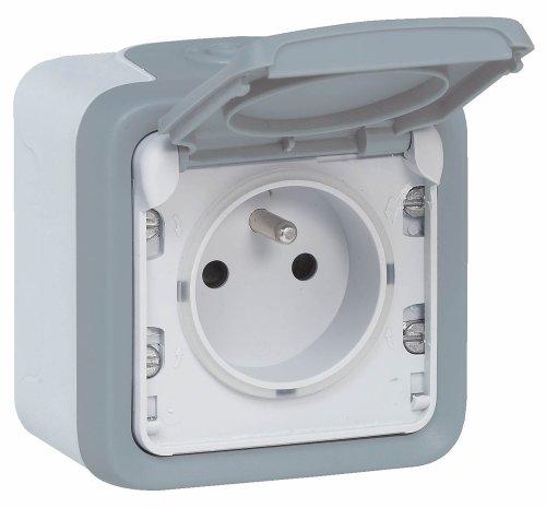 Legrand 069910 Prise de Courant et Volet de Protection IP 55 Plexo Complet Apparent, Gris