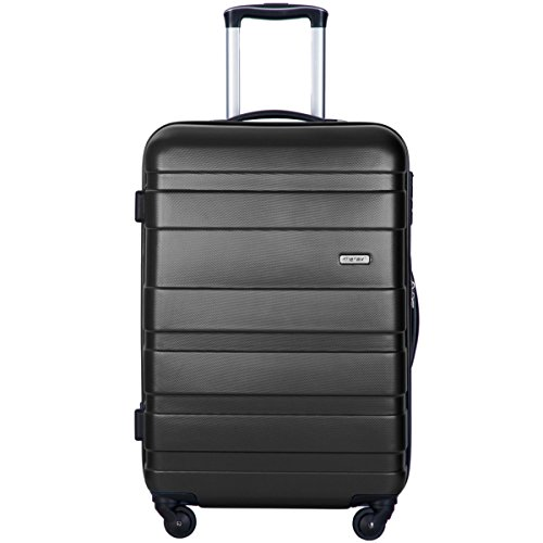 Merax Afuture 20 24 28 inch Luggage Lightweight Spinner Suitcase (24, Black)