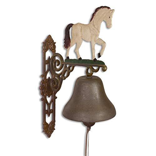 Moritz grote gietijzeren wandklok paard schimmel paardrijden ruiterij bel deurbel 59,7 cm hoogte huisklok antieke stijl bruin bel versierd