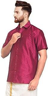 SJS-Men's Half Sleeve Solid Art Silk Shirt (Dark Red, 36)