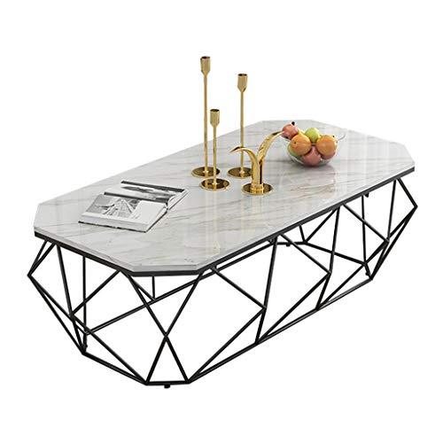 Guéridons de Salon Table de thé rectangulaire Art de Fer Table de Salon Nordique avec Table Basse en marbre Nordique Table d'appoint de Salon Moderne Noir/Cadre en métal doré 80 × 40 × 45 cm