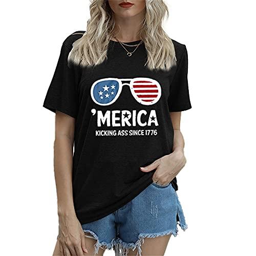 Mayntop Camiseta de manga corta para mujer con diseño de bandera de Estados Unidos, 4 de julio, C-negro, 42