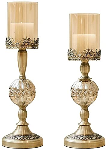 TAIDENG Candelero Retro nórdico Candillo de Cristal de Cristal, decoración romántica Titular de los Velas para la Cena de la luz de Las Velas (Size : Set)
