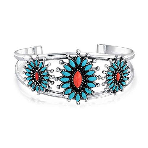 Bling Jewelry Sudoeste De Estilo Navajo Teñido Coral Turquesa Estabilizada Flores De Calabaza Amplia Pulsera De Puño Mujer 925 Plata