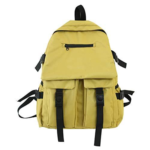 EVFIT Mochila para portátil para niñas y niñas, para colegio, de viaje, bolsa de viaje, ligera, informal, para mujeres, hombres, niñas, estudiantes (color: amarillo, tamaño: 33 x 13,5 x 44 cm)
