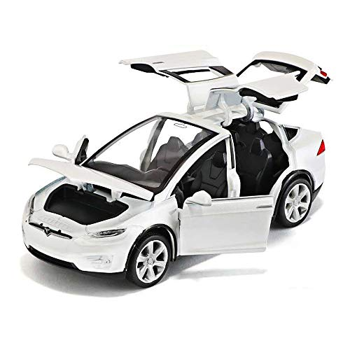 Diecast Car,1:32 Zinc Alloy Model X Cars with Light and Music Pull Back Cars 3 To12 Year Kids Toy Cars Boy Gifts (White)