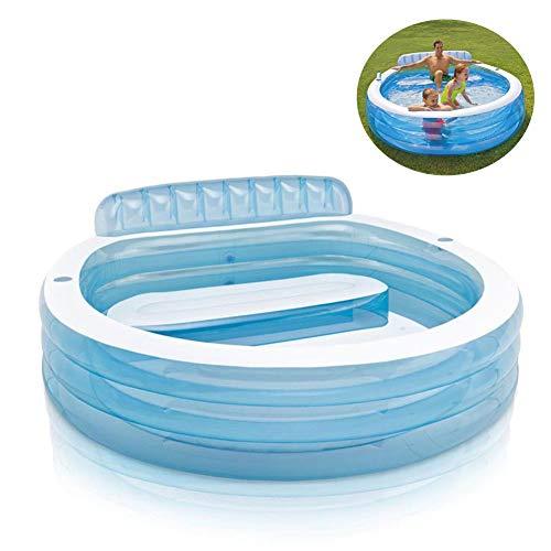 Aufblasbare Pools,Verdicken Umweltschutz PVC Aufblasbare Badewanne Planschbecken Mit Rückenlehne 224 * 216 * 76CM,Family Pool Außenpool Für Erwachsene Und Kinder