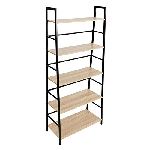 C-Hopetree Ladder Shelf Bookcase - 5 Tier Display Bookshelf - Black Metal Frame