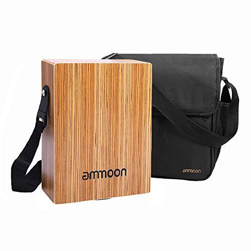 ammoon Cajón Flamenco Caja de Tambor Plana Tambor de Mano Portátil de Viaje Instrumento de Percusión Arbolado con Correa Bolsa de Transporte